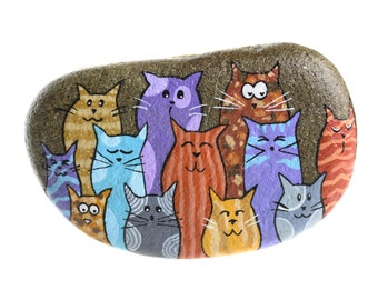 Handpainted rock with cats