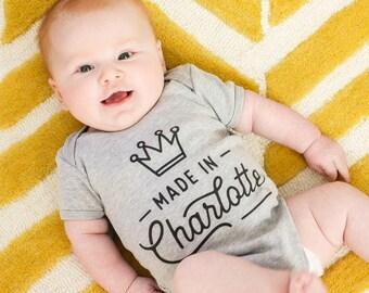 Made in Charlotte Short or Long Sleeve Baby Onesie | Charlotte, NC Baby Onesie