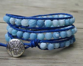 Boho Wrap Bracelet Leather Beads Braelet Blue Beads Bracelet Navy blue Agate beads Bracelet Navy Bracelet Gyspy Bracelet Jewelry SL-0206