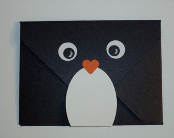 Penguin Gift Card Holder, Christmas, cash, gift card, handmade