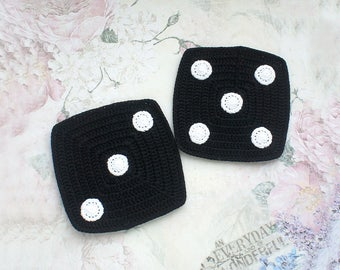 Crochet coasters Dice (set of 2 ), Crocheted coasters for men