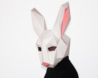 Rabbit Mask, Paper Mask, Animal Mask, DIY printable Animal Head, Instant Pdf download, DIY Eastern Mask, 3D Pattern, Polygon Masks