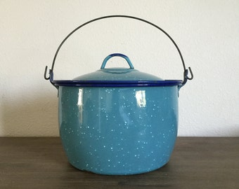 Vintage Blue Speckled Enamelware Stock Pot; Blue Enamel Pot; Enamel Pot with Lid; Vintage Enamelware; Vintage Stock Pot