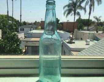 Antique Light Blue-Aqua Glass Bottle; Antique Beer Bottle; Mouth-Blown Glass Bottle; Glass Bottle Decor; Glass Bottle; Bottle Flower Vase