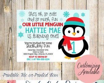 Our Little Penguin Birthday Party Invitation