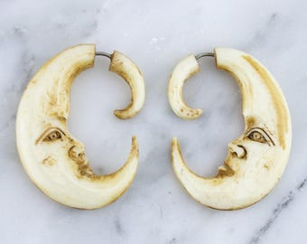 Moon Face Stained Bone Hangers / Fake Gauges Earrings