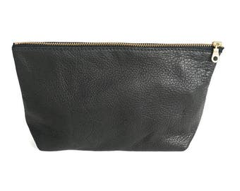Hermosa Ave - Black - Flat Bottom Makeup Bag, Leather Clutch, Leather Makeup bag, Makeup pouch, Makeup Accessory Pouch, SHIPS FREE