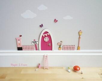 Fairy door kit with personalised signpost - hot pink- fairy house - fairy accessories  tooth fairy elf door indoor fairy door