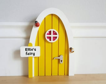 Personalised Yellow fairy door great gift for girls and girls room decor - pretend play - tooth fairy door - magic - miniature - elf pixie
