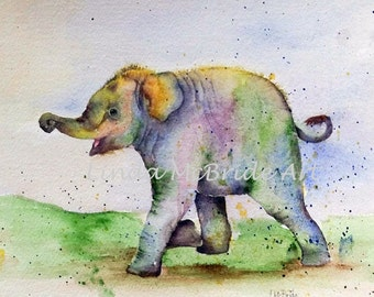Baby Elephant 3x3 gift enclosure card from my original watercolor painting with envelope