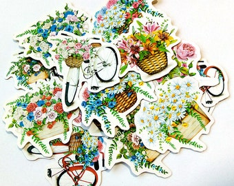 Parisian Bikes & Flowers Flake Stickers (40 pcs) // N22 // Die Cut Stickers // Planners //  Laptop Stickers  // Scrapbooking Essentials