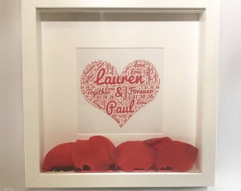 Couple heart word cloud box frame PERFECT VALENTINE'S GIFT