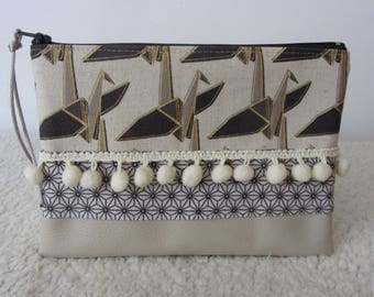 Make-up bag faux leather fabrics and unbleached cotton Japanese pattern asanoha with his braid and origami cranes