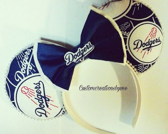 Los Angeles dodgers ears/handmade ears/disney baseball ears/dodgers ears