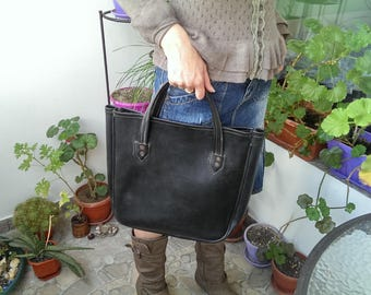 Vintage Leather Shopping Bag, Retro Black Solid Leather Bag with Handle, Old Large Market Bag from 1960s