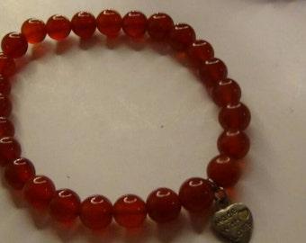 red agate beaded bracelet