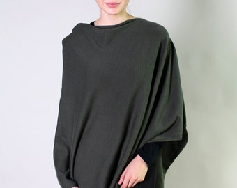 Women's Organic Cotton Solid OLIVE GREEN Poncho. Sweater Cape Dress Topper, Soft & Lightweight. Holiday Gifts
