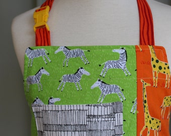 Child's Apron--Lions and Giraffes and Zebras, Oh My! Reversible Apron