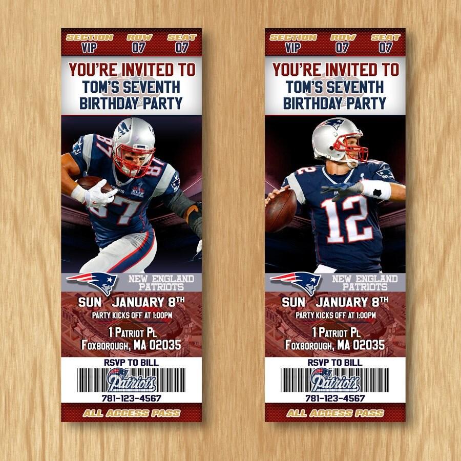 New England Patriots Birthday Invitation Football Ticket
