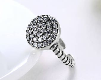 Fashion 925 Sterling Silver Party Jewelry Ring for Women Resizable