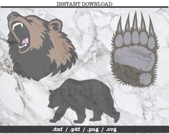 Bear cut file,bear paw,SVG, DXF, PNG, Cricut, Silhouette,cutting machine,clipart,screen print,outdoors,angry bear roar, camping danger, claw