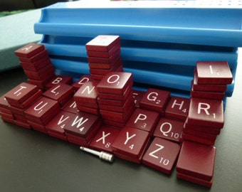 104 maroon scrabble tiles, burgundy wooden letters,Collage, Scrapbooking, vintage set, Jewelry, Art and Craft Projects,wood,scoring rack,pin