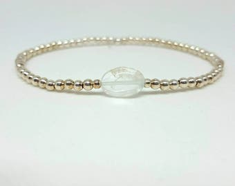 Aquamarine stretch bracelet, silver elastic bracelet,silver stretchy bracelet, aquamarine jewellery, March birthstone, March birthday gift