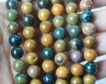 8mm Ocean Jasper Beads, Round Beads, Smooth Beads, Ocean Jasper, Ocean Jasper Gemstone, Jasper Beads, Bead Strand, Jasper Round Beads, GS027