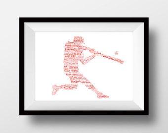 Baseball artwork, Baseball print, Baseball present, Baseball  gift, Baseball  drawing
