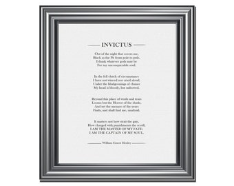 INVICTUS POEM, William Henley, Literary Prints, Office Print, Home Decor, Archival Wall Art Print, Master of my Fate; Captain of my Soul