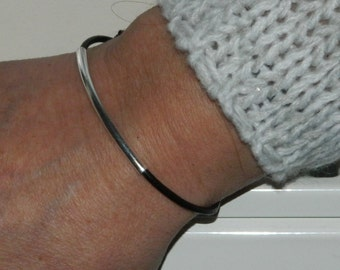 Sterling Silver bracelet Silver tube with leather cord handcrafted bracelet silver black bracelet