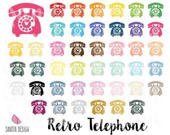 43 Retro Telephone clip art, Phone Vintage Clipart, Personal and small comercial use.