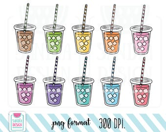 10 Doodle Frozen Drink, Frozen Tea, Frozen Coffee Clipart. Personal and comercial use.