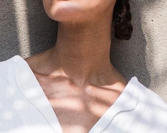 FURTHER MARKDOWN 50% off! stem blouse white organic handwoven feel-linen cotton