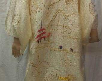 Vintage hand embroidered gold dragon kimono robe with pagoda  - boho
