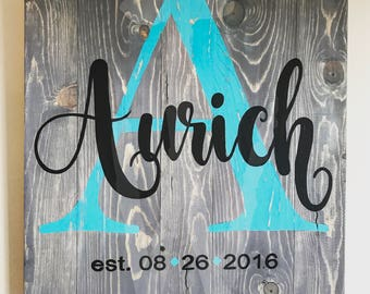 Personalized Name & Established Date Hand Painted Wooden Sign