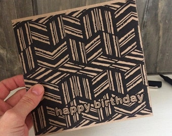 Male Birthday Card with Geometric Pattern, ideal card for men, brother, friend, uncle, boyfriend. Unusual recycled square kraft card UK
