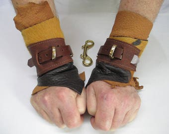 Pair of Unique three layer Browns, Bull Hide Leather, Goat skin, single Wrap Cosplay Wrist Bracer Cuffs (Code BR13)