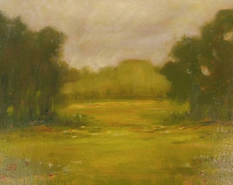 Oil landscape painting with muted colors of a southern scene