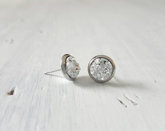 8mm small stainless surgical steel silver druzy stud