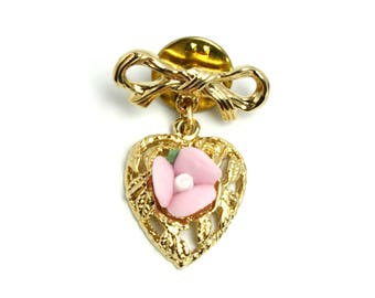 Vintage Heart and Bow and Pink Flower Gold Tone Sweet Heart Small Pin