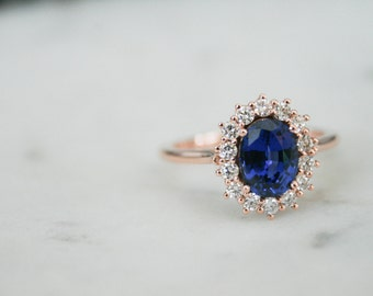 Rose Gold Sapphire Ring, Oval Blue Sapphire, Diamond Halo Ring, Halo Engagement, Sapphire Engagement, Rose Gold, Rose Gold Sapphire Ring