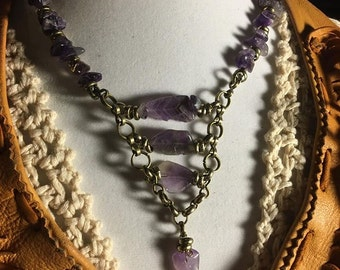 Handmade Genuine Purple Amethyst Stone Steampunk Antique ladder Helix Chainmaille Necklace Choker Jewelry