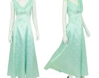 Handmade Vintage 1970's Women's S 6 Pale Mint Green Satin Formal Maxi Dress Empire Waist EUC
