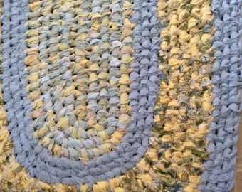 "Blue Yellow runner oval rug. 21"" x 39"" Bath, kitchen, nursery, entry, RV camper, mudroom, covered porch. Machine Washable!"