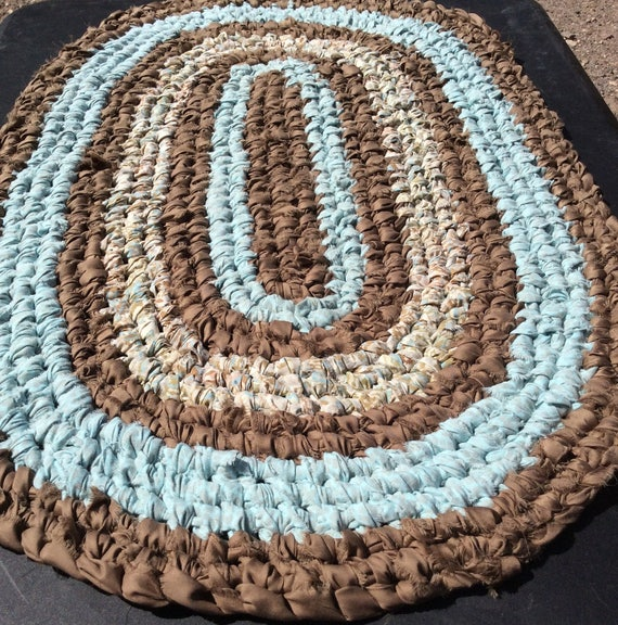 Handmade Golden Brown Amp Blue Oval Rug Toothbrush Knotted