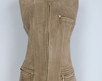 1980s Vest - Beige Suede Vest - Taupe Brown Waistcoat - Leather Gilet With Pockets And Zippers Size Small Medium