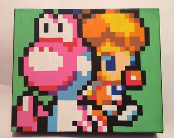 Baby Peach and Yoshi pixel canvas