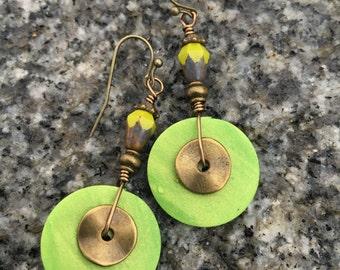 Boho Earrings, Lime Green Earrings, Clay Earrings, Dangle Earrings, Unique Earrings