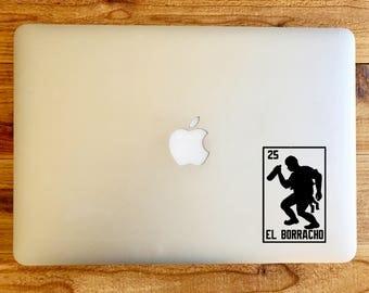 El Borracho the drunk loteria sticker decal for macbook mac laptop